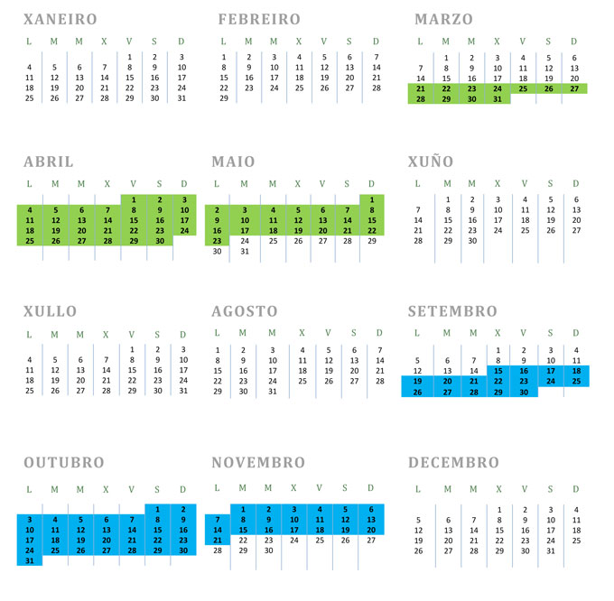 Calendario do contribuínte 2016